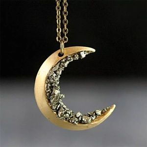 **coming soon** matte gold toned moon necklace